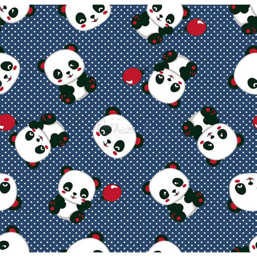 Tecido Tricoline Estampado Pandas 2 Cor 01 (Marinho)