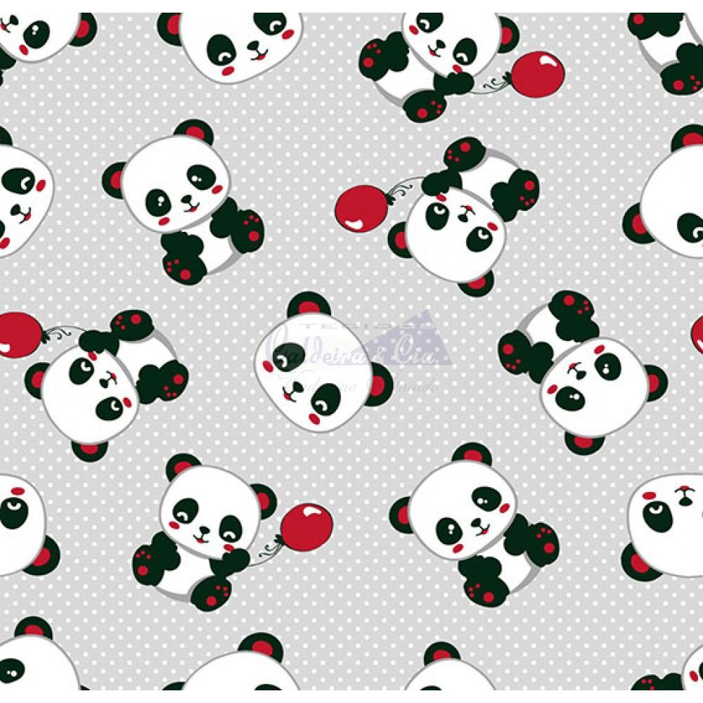Tecido Tricoline Estampado Pandas 2 Cor 02 (Cinza Com Vermelho)