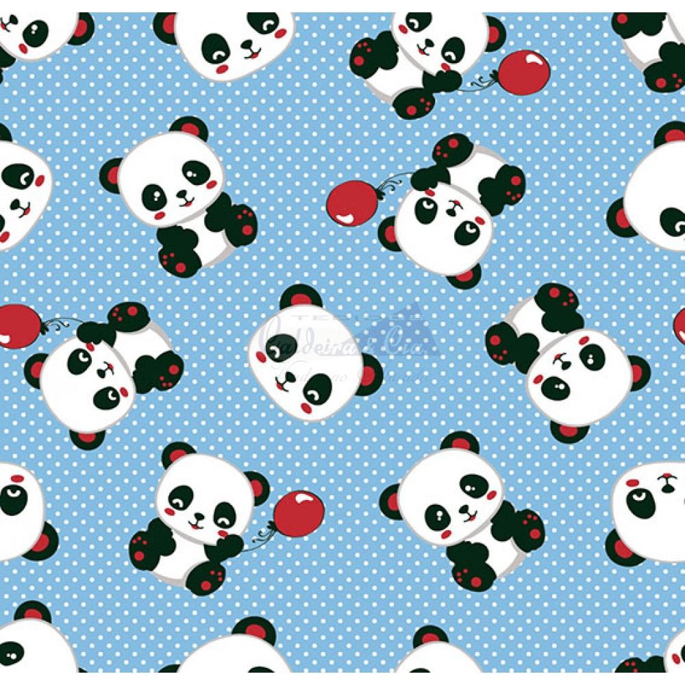 Tecido Tricoline Estampado Pandas 2 Cor 07 (Azul Com Vermelho)