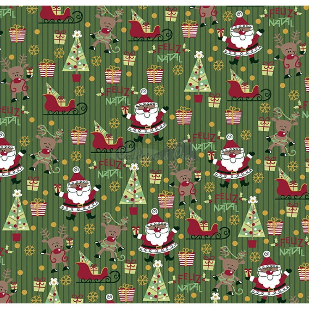 Tecido Tricoline Estampado Natal Cor - 41 (Verde)