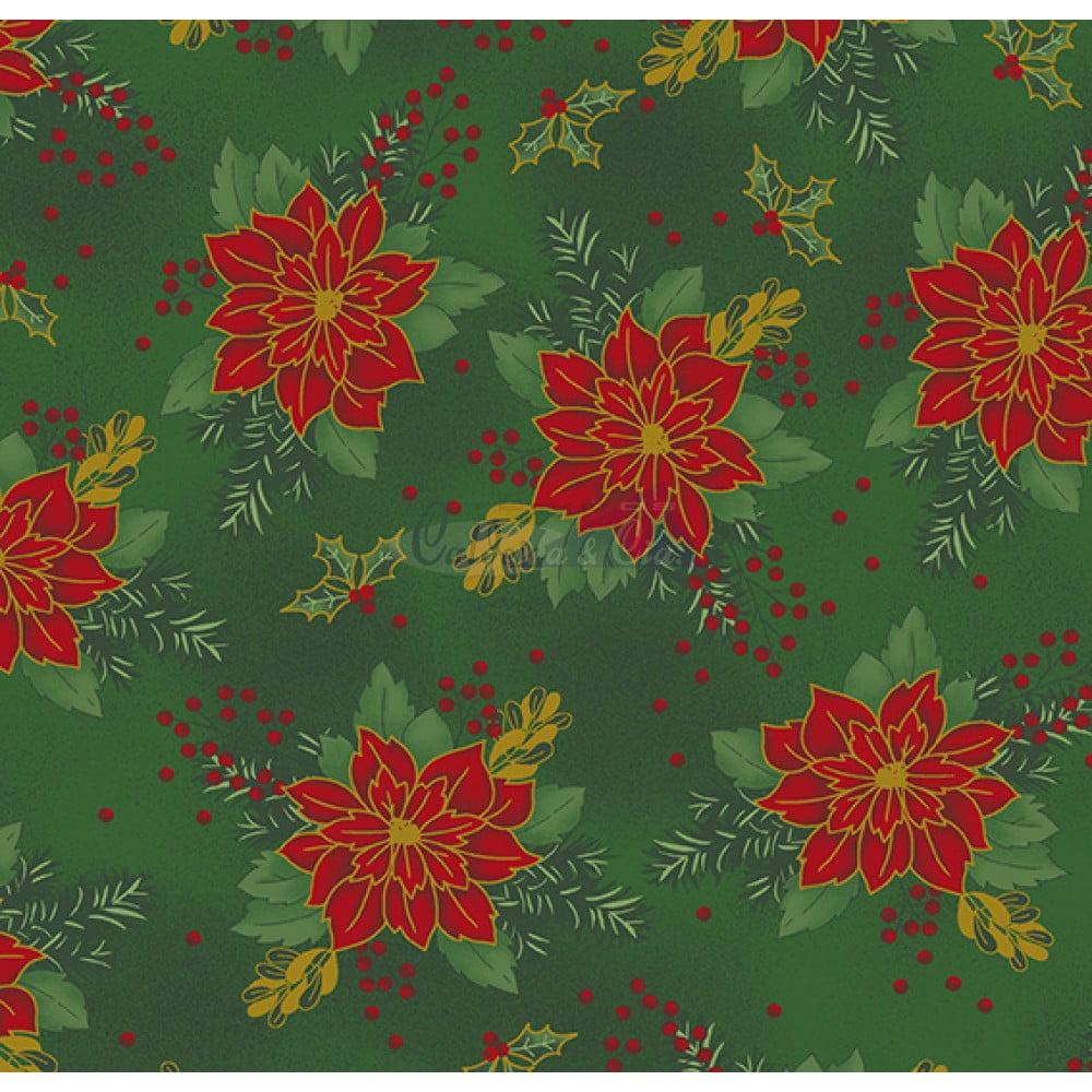 Tecido Tricoline Estampado Natal Cor - 55 (Verde)