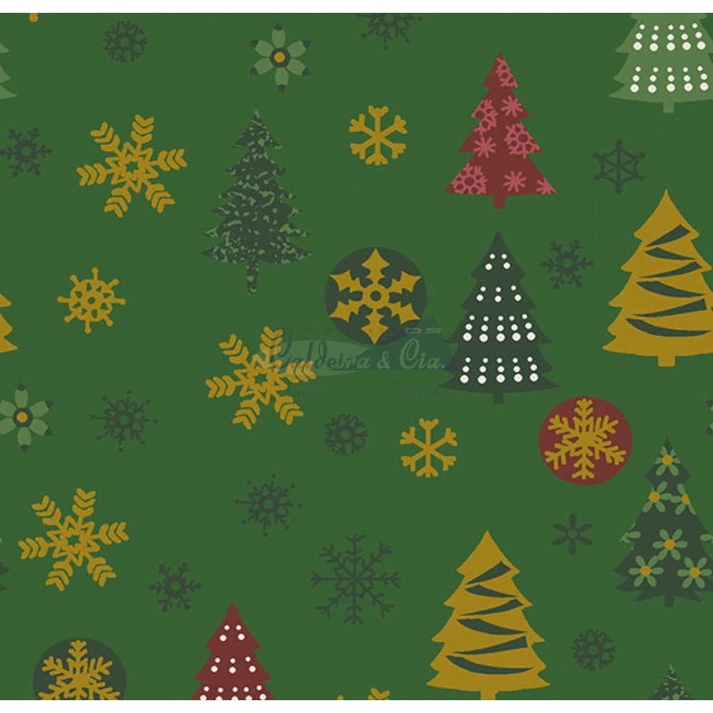Tecido Tricoline Estampado Natal Cor - 67 (Verde)