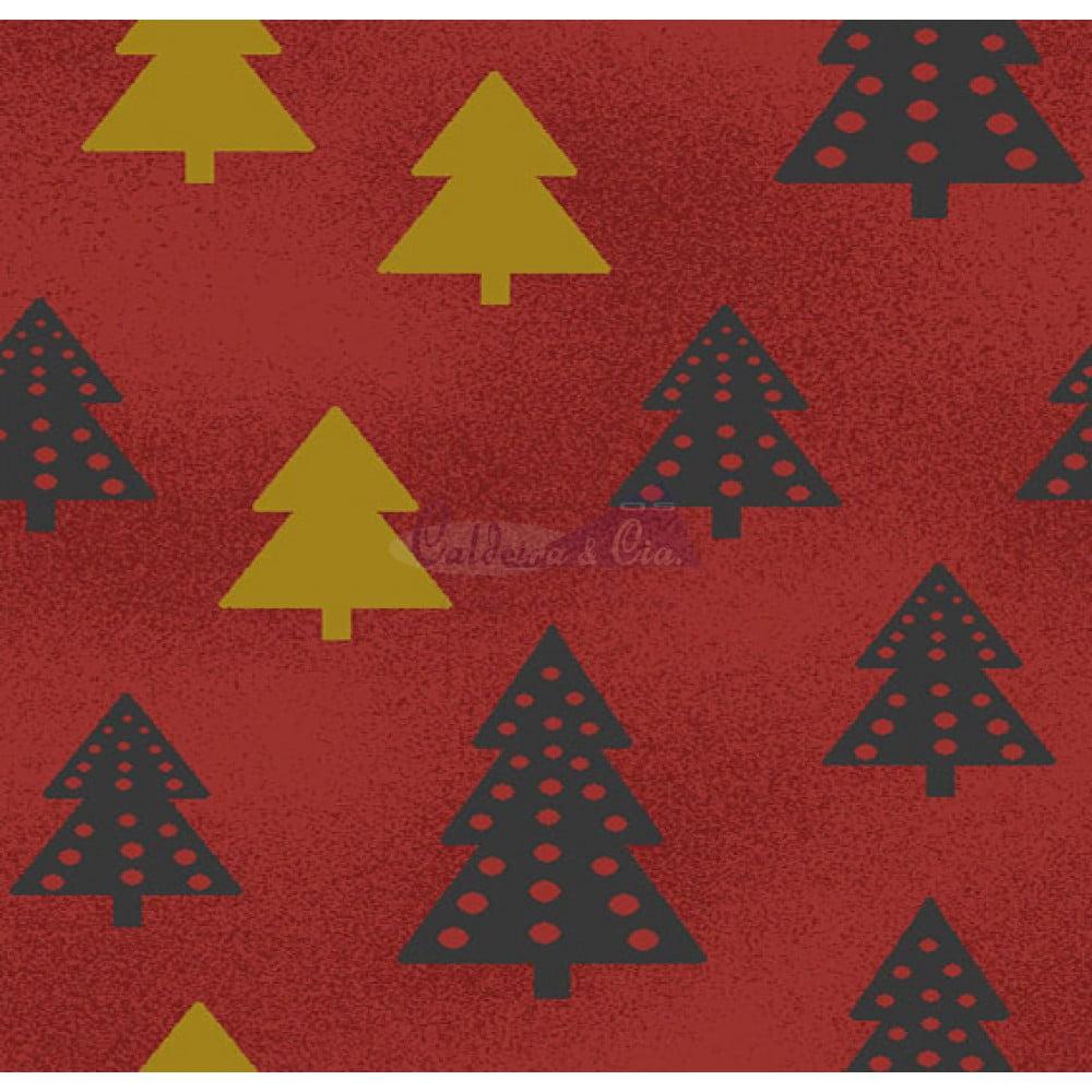 Tecido Tricoline Estampado Natal Cor - 69 (Vermelho)