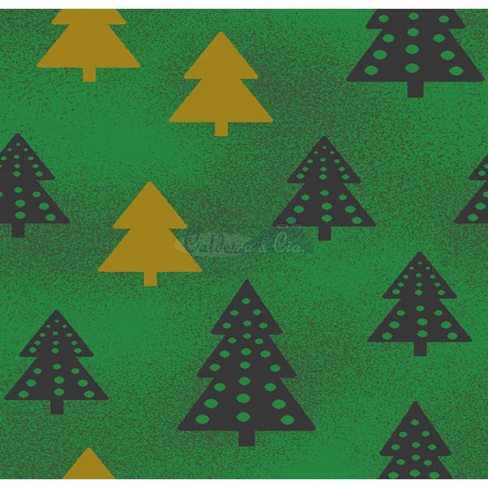 Tecido Tricoline Estampado Natal Cor - 70 (Verde)
