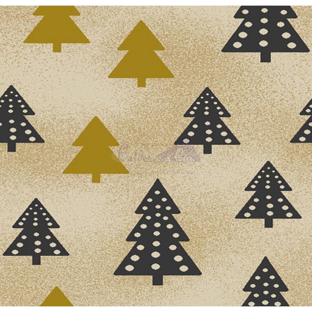 Tecido Tricoline Estampado Natal Cor - 71 (Bege)