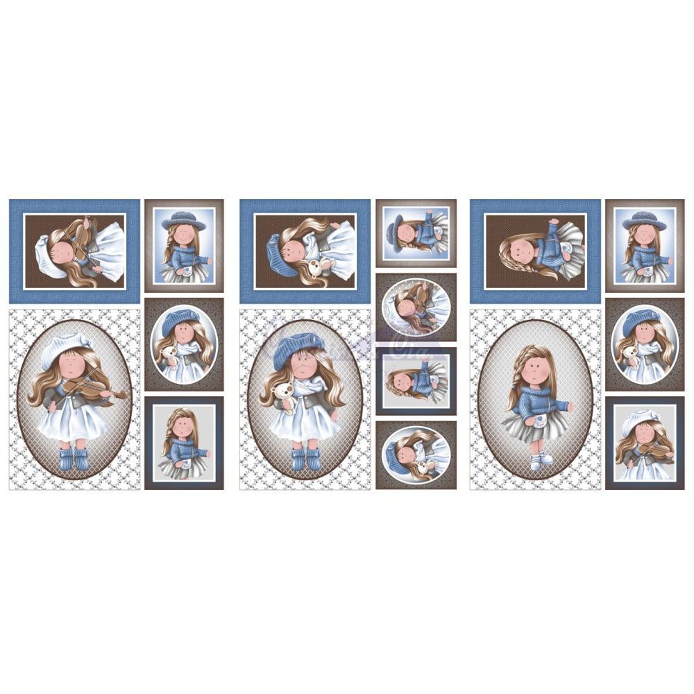 Tecido Estampado Puppe cor - 04 (Marrom com Azul) Medida: 0,64cm x 1,50