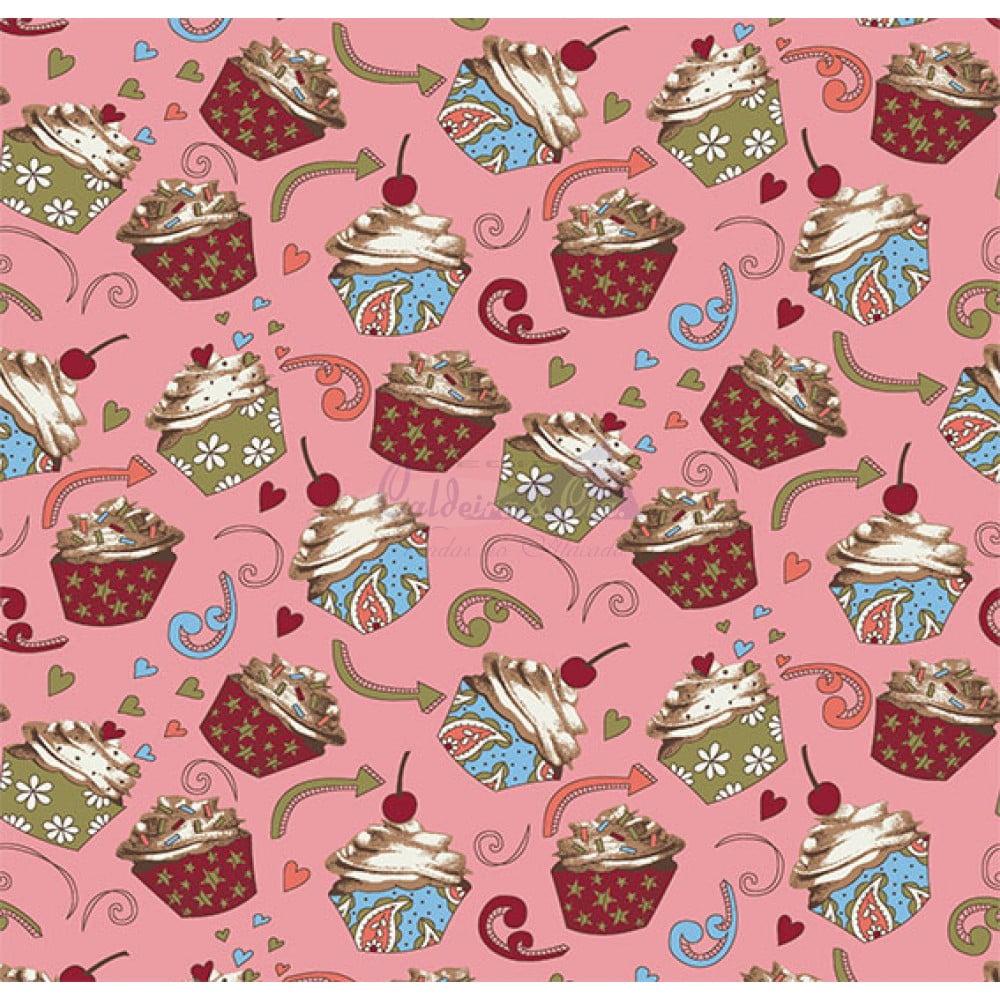 Tecido Tricoline Estampado 100% Algodão Cupcake Cor - 03 (Rose)