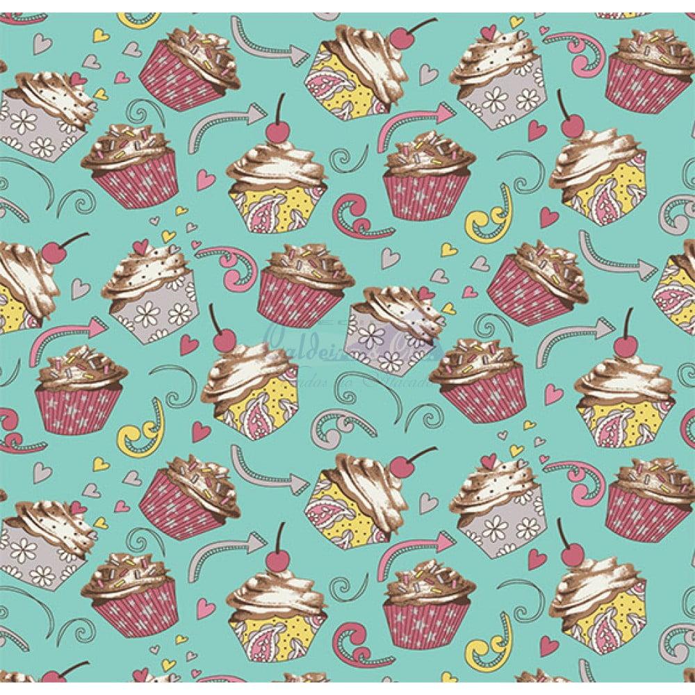 Tecido Tricoline Estampado 100% Algodão Cupcake Cor - 04 (Tiffany)