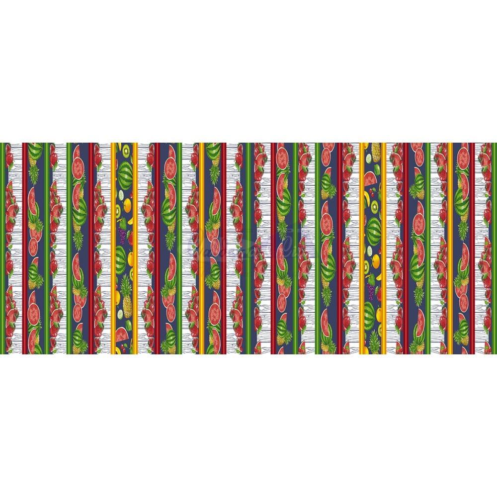 Tecido Tricoline Estampado 100% Algodão Barrado Salada De Frutas Cor - 04 (Marinho)