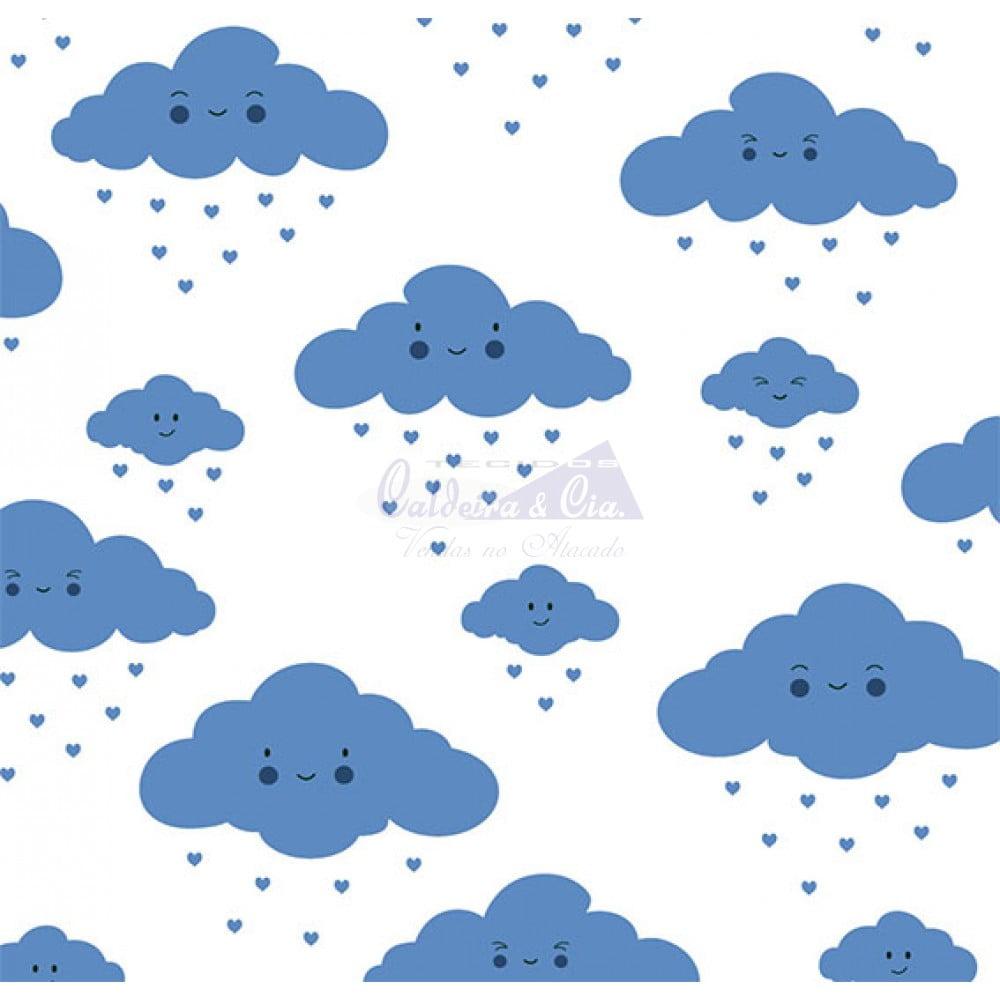 Tecido Tricoline Estampada 100% Algodão Nuvem Cor - 11 (Branco Com Marinho)