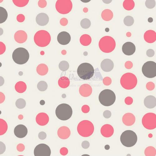 Tecido Tricoline Estampada Bolas Cor 18 (Cinza Com Rose) 180588-18