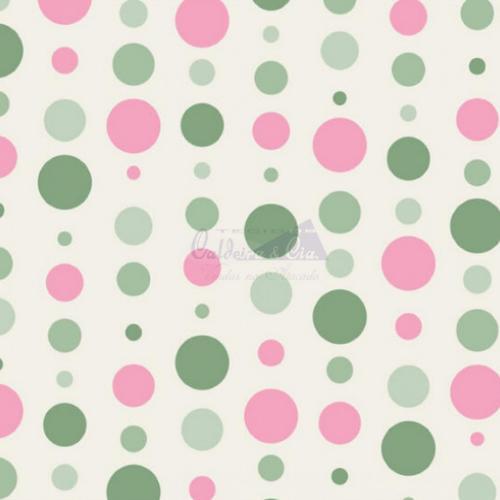 Tecido Tricoline Estampada Bolas Cor 19 (Verde Com Rosa) 180588-19
