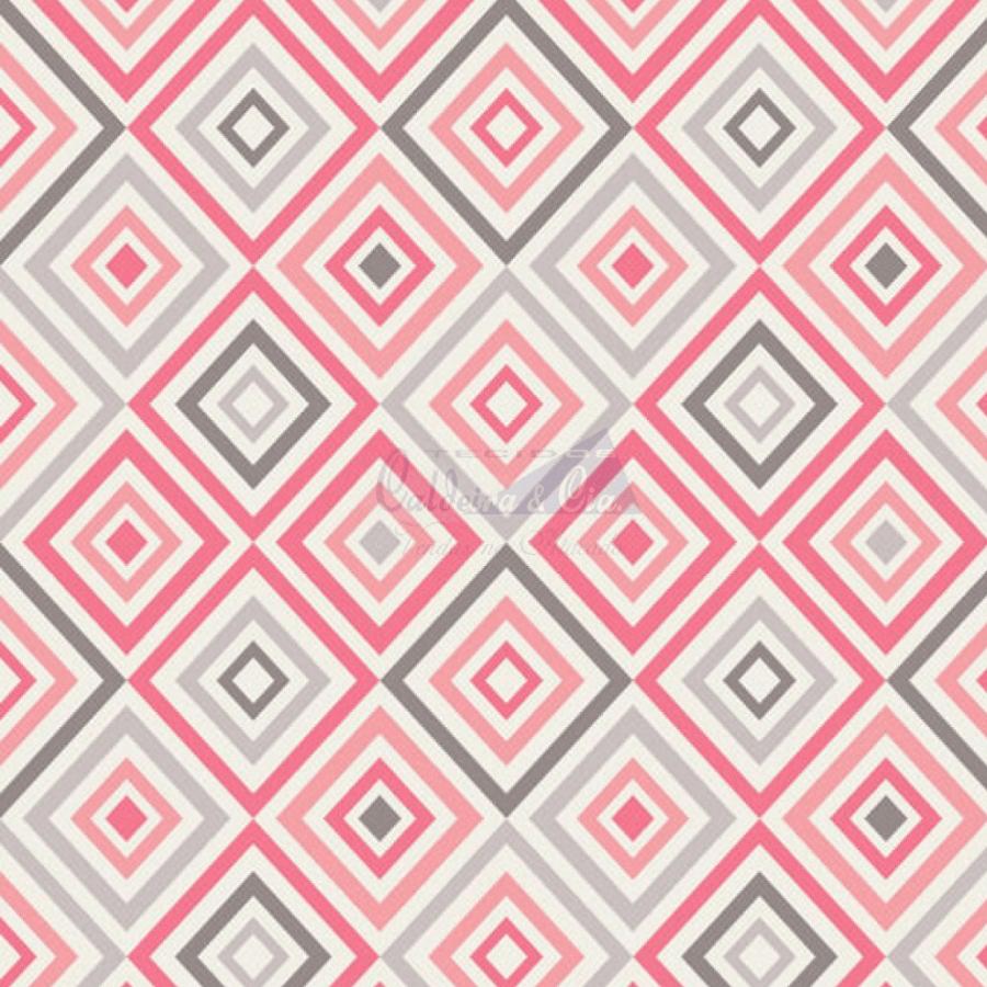 Tecido Tricoline Estampada Geométrico Cor 05 (Cinza Com Rose) 180658-05