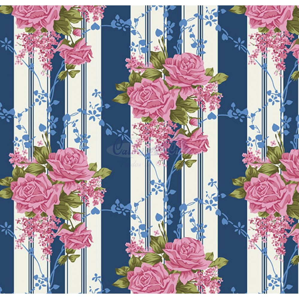 Tecido Tricoline Estampado 100% Algodão Floral 180687-03