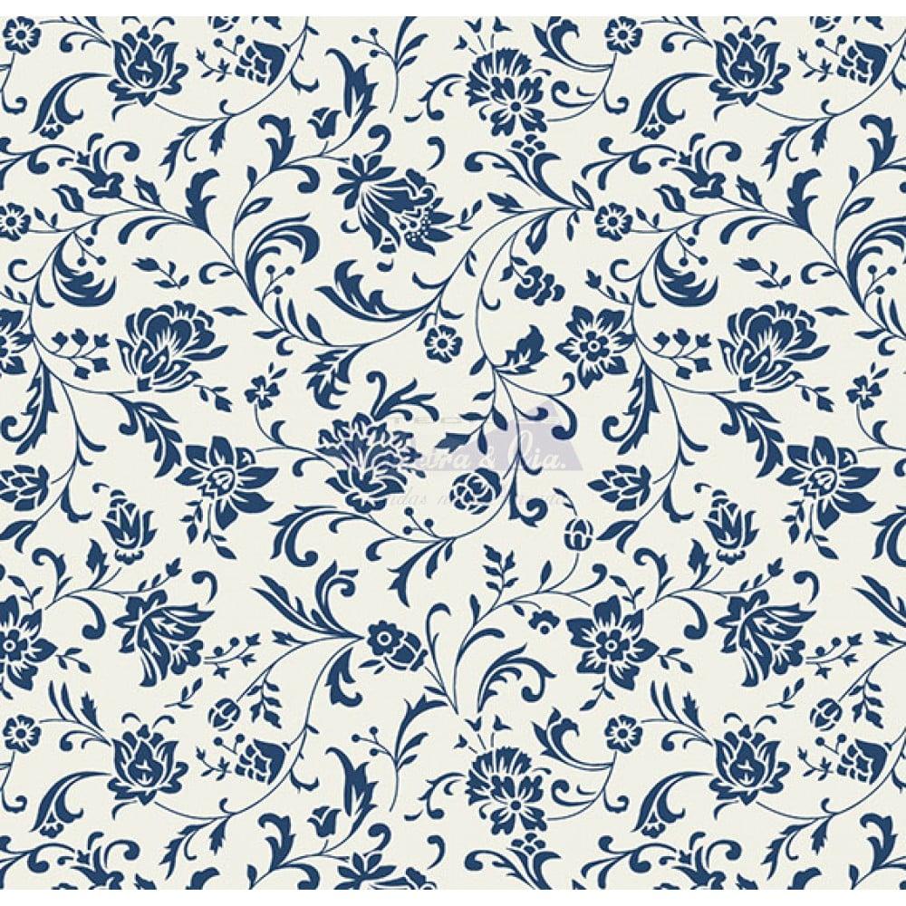 Tecido Tricoline Estampado 100% Algodão Floral (Branco/Marinho) 180692-06