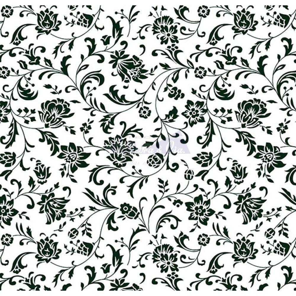 Tecido Tricoline Estampado 100% Algodão Floral (Branco/Preto) 180692-04