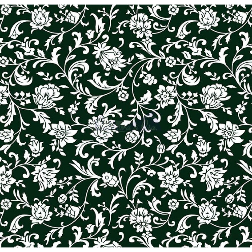 Tecido Tricoline Estampado 100% Algodão Floral (Preto/Branco) 180692-03