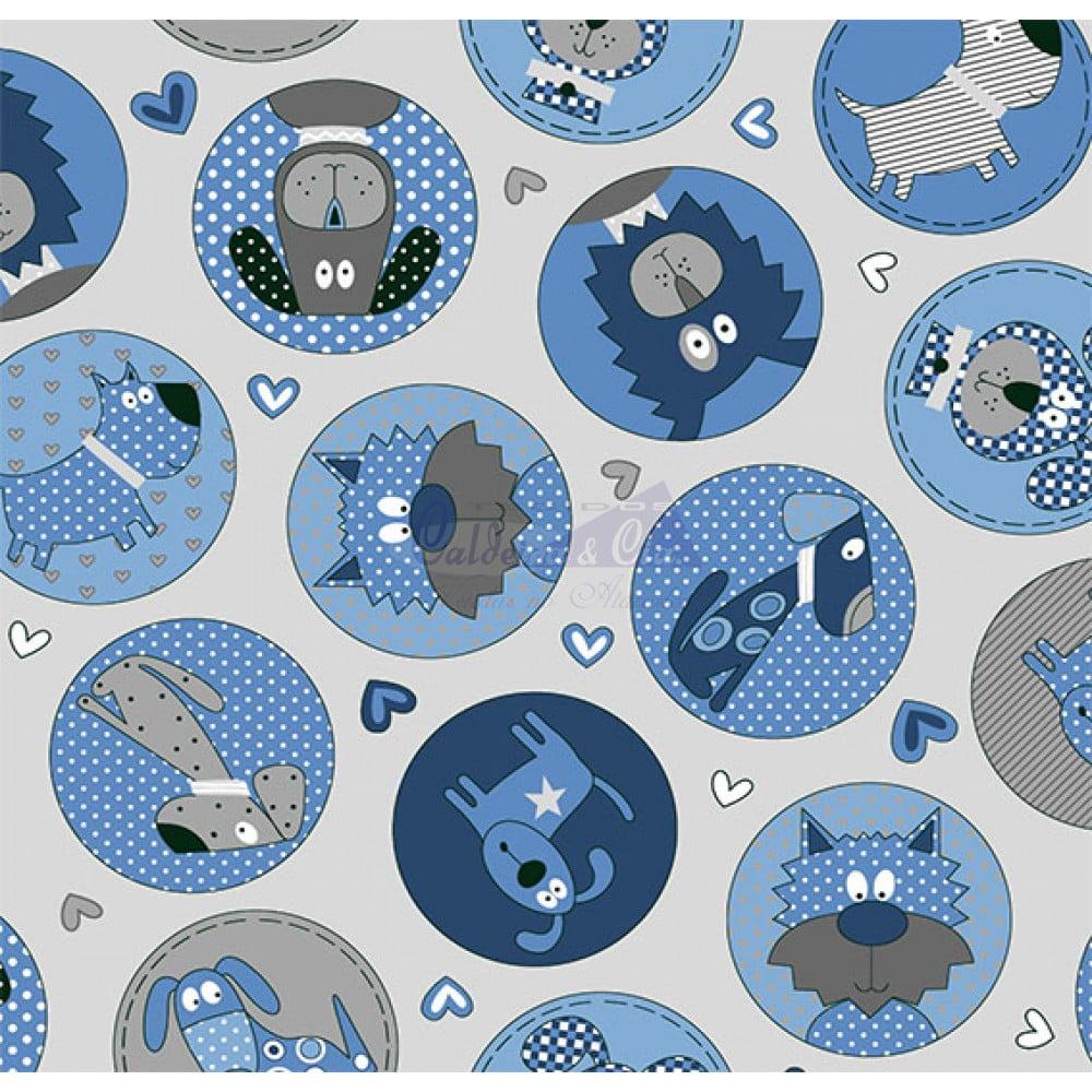 Tecido Tricoline Estampado Cute Dog Cor - 01 (Cinza Com Azul)