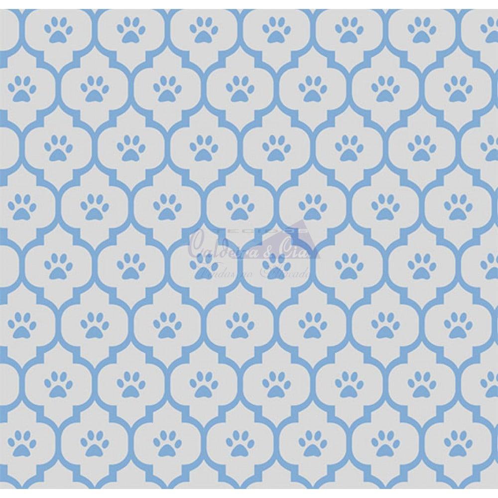 Tecido Tricoline Estampado Patinhas Cor - 01 (Cinza Com Azul)