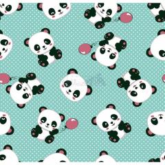 Tecido Tricoline Estampado Pandas 2 Cor 03 (Tifanny)