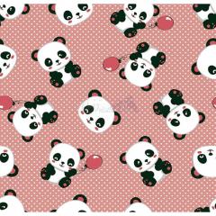 Tecido Tricoline Estampado Pandas 2 Cor 04 (Nude)