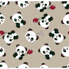 Tecido Tricoline Estampado Pandas 2 Cor 09 (Bege)