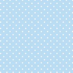 Tecido Tricoline Estampado 100% Algodão Bolinhas Azul Bebê c/ Branco 1401-26