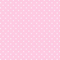 Tecido Tricoline Estampado 100% Algodão Bolinhas Poás Rosa c/ Branco 1401-02