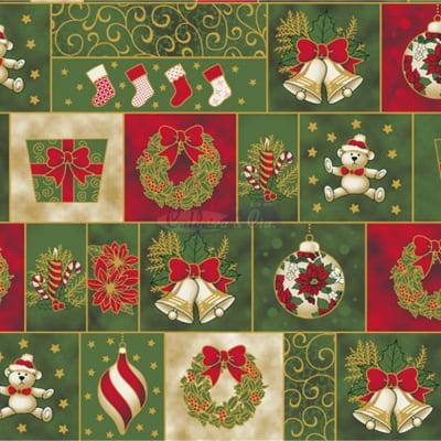 Tecido Tricoline Estampado Natal Cor - 02 (Verde)
