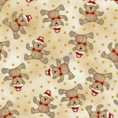Tecido Tricoline Estampado Natal Cor - 06 (Bege)