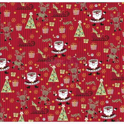 Tecido Tricoline Estampado Natal Cor - 40 (Vermelho)