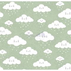 Tecido Estampado Nuvem Cor - 12 (Verde)