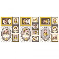 Tecido Estampado Puppe cor - 03 (Amarelo) Medida: 0,64cm x 1,50