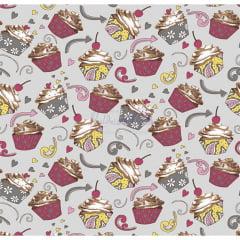 Tecido Tricoline Estampado 100% Algodão Cupcake Cor - 06 (Cinza)