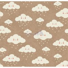 Tecido Tricoline Estampado 100% Algodão Nuvem cor - 01 (Bege com Branco)