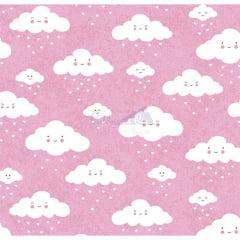 Tecido Tricoline Estampado 100% Algodão Nuvem cor - 02 (Rosa)