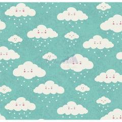 Tecido Tricoline Estampado 100% Algodão Nuvem cor - 04 (Tiffany)