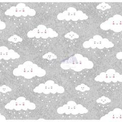 Tecido Tricoline Estampado 100% Algodão Nuvem cor - 06 (Cinza com Branco)