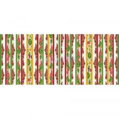 Tecido Tricoline Estampado 100% Algodão Barrado Salada De Frutas Cor - 02 (Bege)