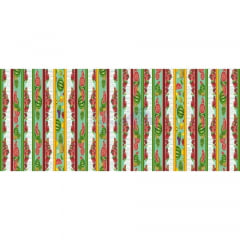 Tecido Tricoline Estampado 100% Algodão Barrado Salada De Frutas Cor - 03 (Tifany)