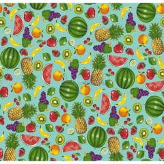 Tecido Tricoline Estampado 100% Algodão Salada De Frutas Cor - 01 (Azul)