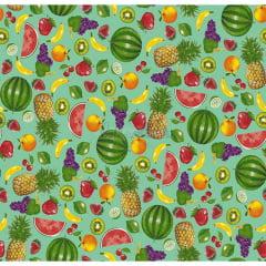 Tecido Tricoline Estampado 100% Algodão Salada De Frutas Cor - 03 (Tifany)