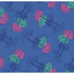 Tecido Tricoline Estampado 100% Algodão Arvore Da Vida Cor 02 (Azul)