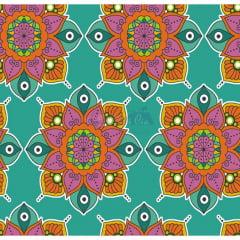 Tecido Tricoline Estampado 100% Algodão Mandala 2 Cor 01 (Tiffany)