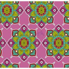 Tecido Tricoline Estampado 100% Algodão Mandala 2 Cor 03 (Rosa)