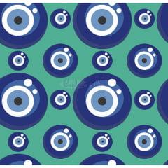 Tecido Tricoline Estampado 100% Algodão Olho Grego Cor 01 (Tiffany)