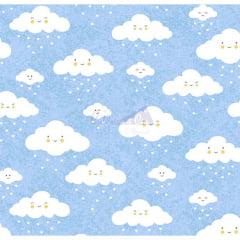 Tecido Tricoline Estampada 100% Algodão Nuvem Cor - 07 (Azul)