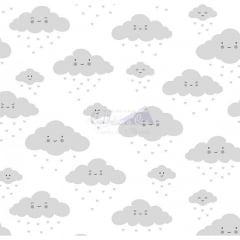 Tecido Tricoline Estampada 100% Algodão Nuvem Cor - 09 (Branco Com Cinza)