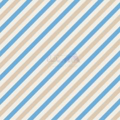 Tecido Tricoline Estampada Diagonal Cor 01 (Bege Com Azul) 180565-01