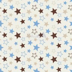 Tecido Tricoline Estampada Estrelas Cor 11 (Bege Com Azul) 180602-11